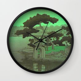 Kawase Hasui Vintage Japanese Woodblock Print Glowing Green Neon Sky Over A Zen Garden Shrine Wall Clock