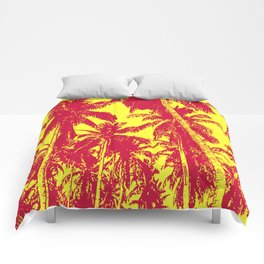 Palm Trees Design in Red and Yellow Comforters