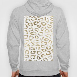 Modern white chic faux gold foil leopard print Hoody