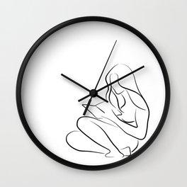 Woman Reading Line Drawing - Reading Rita Wall Clock
