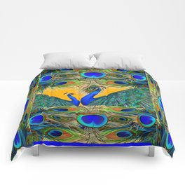 BLUE PEACOCKS  GOLDEN FEATHER DESIGN PATTERNS GN Comforters