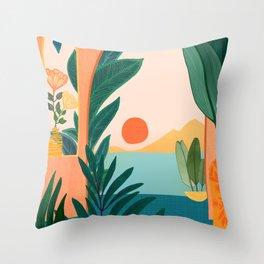 Tropical Evening Throw Pillow