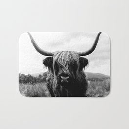 Scottish Highland Cattle Black and White Animal Bath Mat