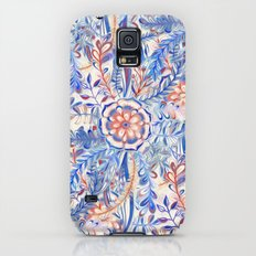 Boho Flower Burst in Red and Blue Galaxy S5 Slim Case