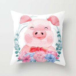 Cute Pig Animal Throw Pillow
