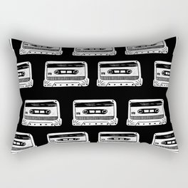 Linocut Cassette Tape black and white minimal retro analog music tape player Rectangular Pillow