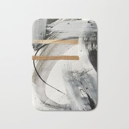 Armor [7]: a bold minimal abstract mixed media piece in gold, black and white Badematte