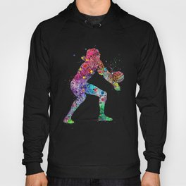 Volleyball Girl Watercolor Print Girls Room Decor Volleyball Poster Girl Volleyball Wall Art Hoody