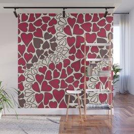 HEARTS  ~  CRIMSON, CLEAR, BROWN Wall Mural