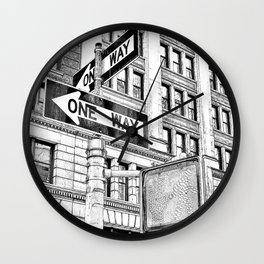 Stop, Look and One Way Street . Wall Clock