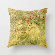 Red poppies at the fields Throw Pillow