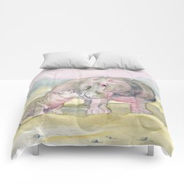 Colorful Mom and Baby Hippo Comforters