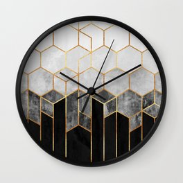 Charcoal Hexagons Wall Clock