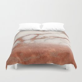 Shiny Copper Metal Foil Gold Ombre Bohemian Marble Duvet Cover