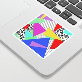 Bits And Pieces - Retro, random, abstract pattern Sticker