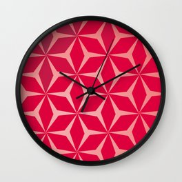 Flowers and geometry in pink Wall Clock