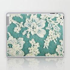 white lace - photo of vintage white lace Laptop & iPad Skin