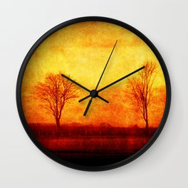 Lone trees on an English winters day  Wall Clock