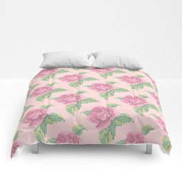 Cross Stitch Rose Pattern in pink Comforters
