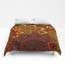 Red & Yellow Boho Mandela Pattern Comforters