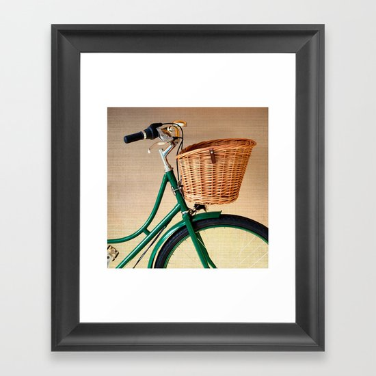 Vintage green bicycle with basket and textured background  Framed Art Print