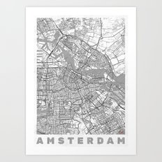 Amsterdam Map Line Art Print