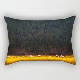 Beautiful Yellow Tall Grass With Mountain Pine Trees In background Majestic Landscape Rectangular Pillow
