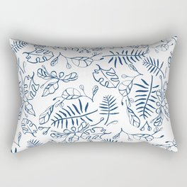 Tropical Plant Boho Chinoiserie Blue and White Rectangular Pillow