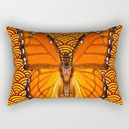 ABSTRACTED GOLD ORANGE MONARCH BUTTERFLY Rectangular Pillow