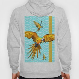 MODERN  AQUA BLUE & GOLD TROPICAL MACAWS IN FLIGHT Hoody