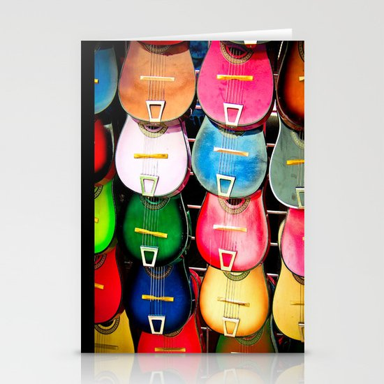 Colorful Wooden Guitars Stationery Cards