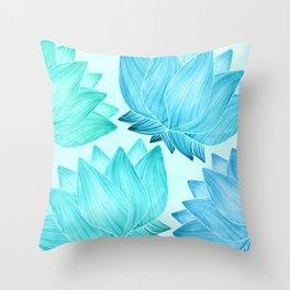 Lotus Love II / Zen Teal Palette Throw Pillow