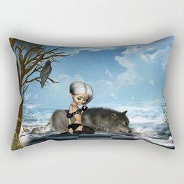 Cute fairy with wolf Rectangular Pillow