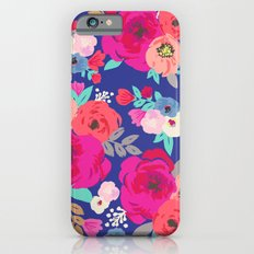 Sweet Pea Floral Blue Bright Color Slim Case iPhone 6