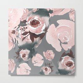 Pink Roses Grey Floral Metal Print