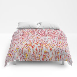Brushed Red, Yellow, Silver Painting Comforters