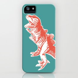 Dino Pop Art - T-Rex - Teal & Dark Orange iPhone Case