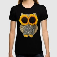 Hoot! Day Owl! LARGE Womens Fitted Tee Black