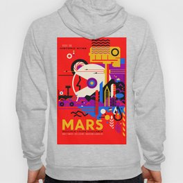 NASA Mars The Red Planet Retro Poster Futuristic Best Quality Hoody