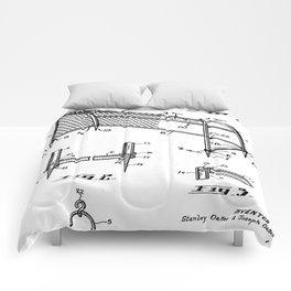 Soccer Patent - Soccer Goal Art - Black And White Comforters
