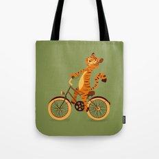 Tiger on the bike Tote Bag