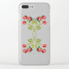 Embroidered Scandi Flowers Clear iPhone Case