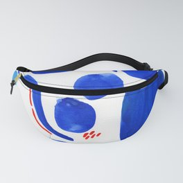 Blue and Red Abstract Watercolor Fanny Pack