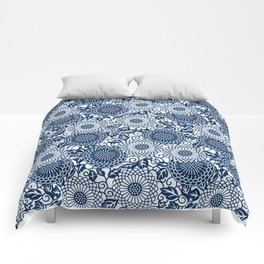 japanese blue flower pattern Comforters