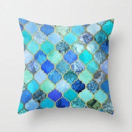 Cobalt Blue, Aqua & Gold Decorative Moroccan Tile Pattern Throw Pillow