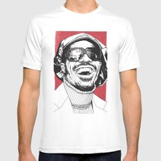 Stevie Wonder White 2X-LARGE Mens Fitted Tee