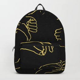 Doodle hand gestures set, Linear black yellow hands pattern Backpack