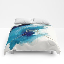 Galaxy Series 3 - a blue and gold abstract mixed media set Comforters