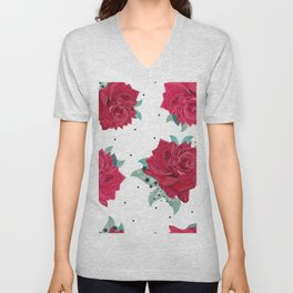 Love garden floral print red roses with stars hand drawn pattern Unisex V-Neck
