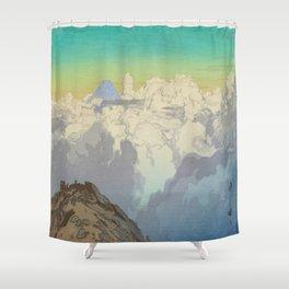 From Komagatake Hiroshi Yoshida Vintage Japanese Woodblock Print Landscape Clouds Mountains Shower Curtain